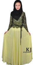 abaya jilbab long maxi dress muslim women dress pictures dubai abaya lace + Composite silk muslim women dress KJ-WAB8005(China (Mainland))