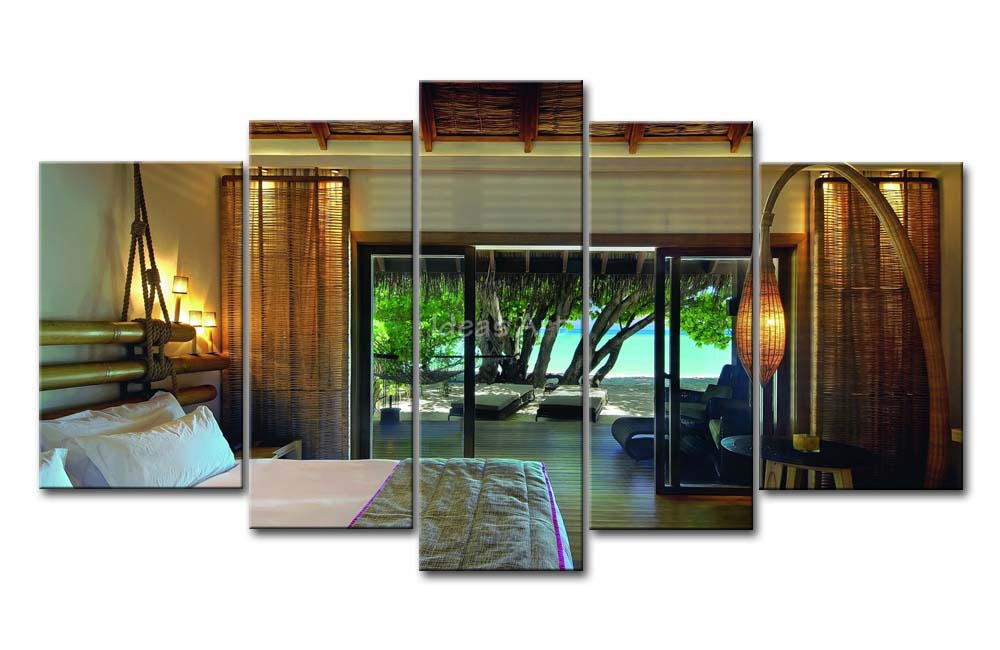 5-Piece-Wall-Art-Painting-Bed-Bamboo-Rope-Lights-Beach-Tree-Print-On-Canvas-The-Picture.jpg