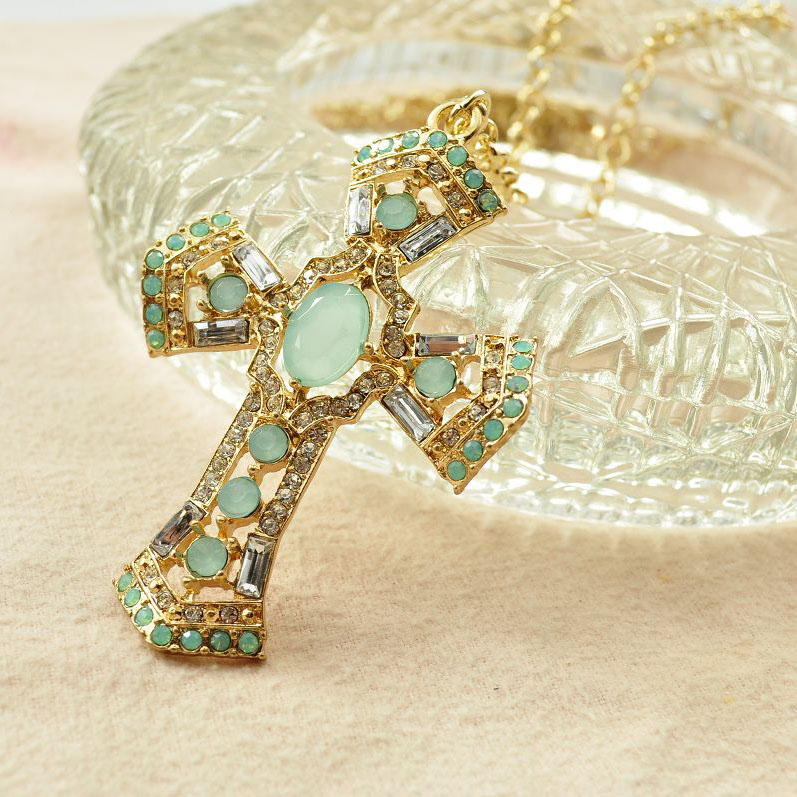 2015 New Arrival Rushed Collar Necklace Women Brief Fashion Accessories Protein Gem Cross Long Necklace FemaleDesign Christmas(China (Mainland))