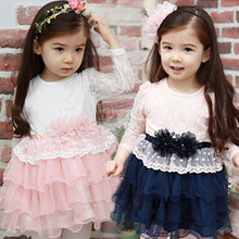 2015 New Arrival Girl Dress High Quality Cotton and Lace Patchwork vestido da menina Lovely girl clothing(China (Mainland))