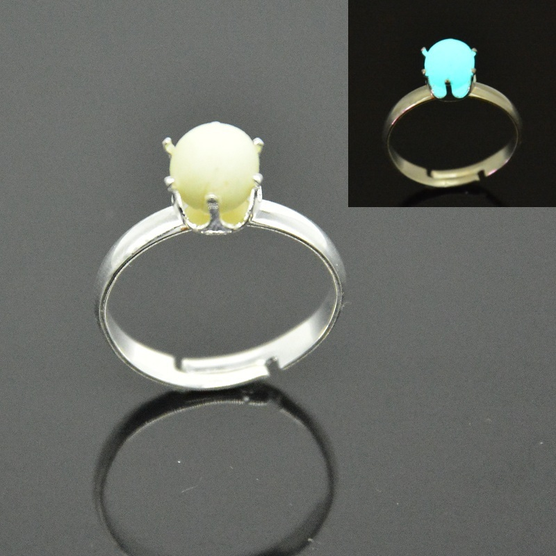2015 ring fashion luminous stone crown style ring unique gift 925 silver crown rings glow in the dark fashion gifts JZ-665(China (Mainland))