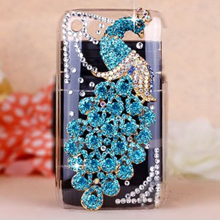Bling Colorful Peacock Crystal Rhinestone Diamond Back Cover For Apple iPhone 3G 3GS Case Free Shipping(China (Mainland))