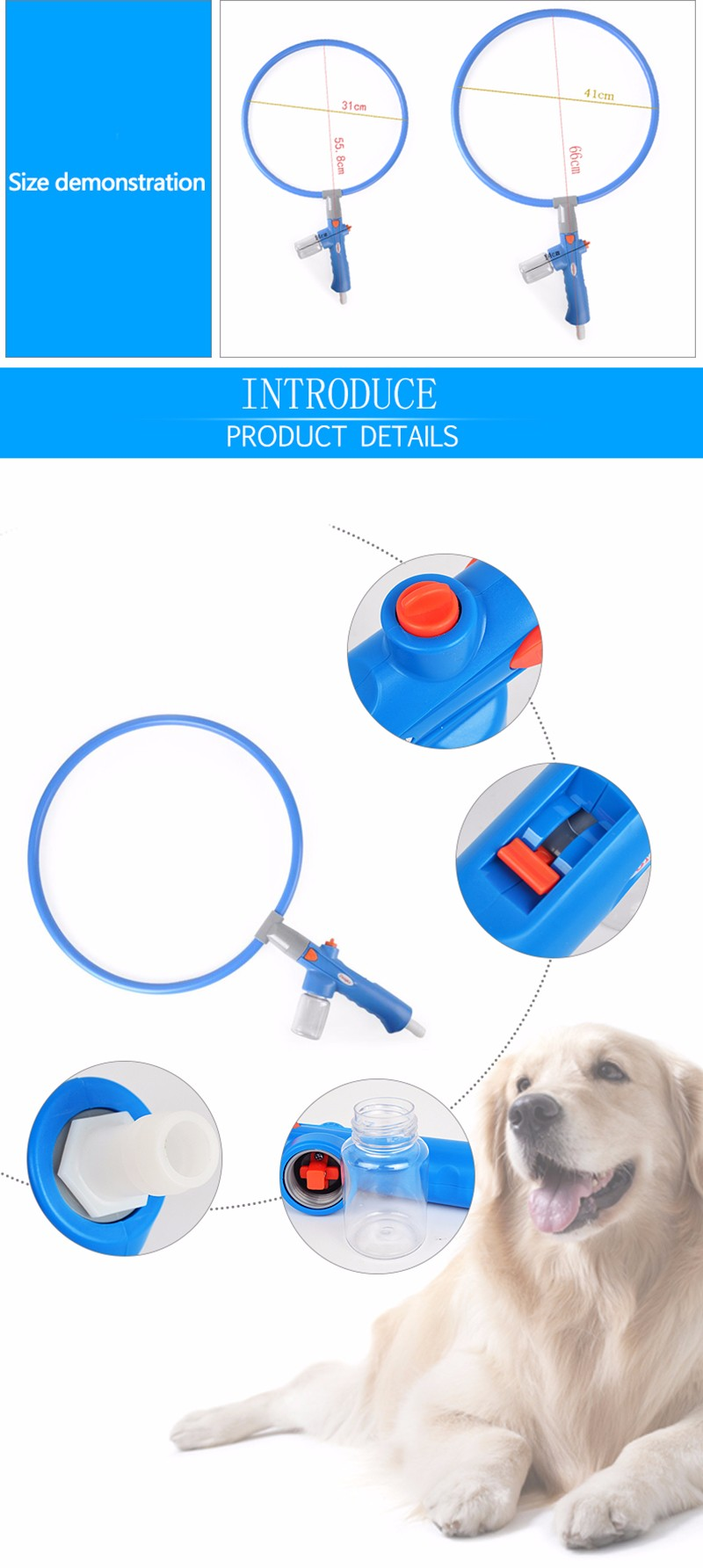 AC99 Pet Dog Shower Kit Dog Shower Tool Washing Convenient 360 Degree Cleaner
