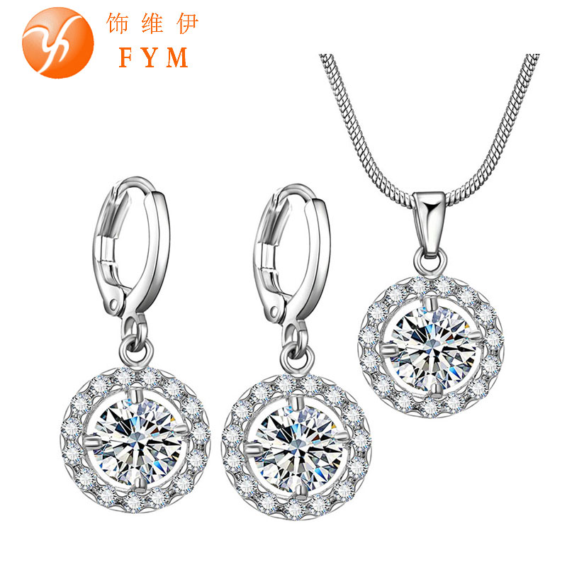 5 Colors Zircon Micro Pave Jewelry Sets for Women Silver Plated Round Cubic Zircon Necklace Hoop Earrings Wedding Jewelry Sets(China (Mainland))