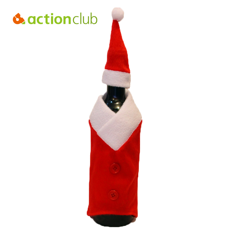 Actionclub Christmas Santa Suit Wine Bottle Cover Wrap Red Hat And Dress Suit For Party Holiday Navidad Decoracion HF061(China (Mainland))