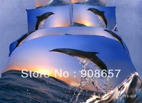 cotton bed linen blue brown dolphin fish sea bedding set 3D bed sheets home textile quilt/duvet cover full queen comforter cover