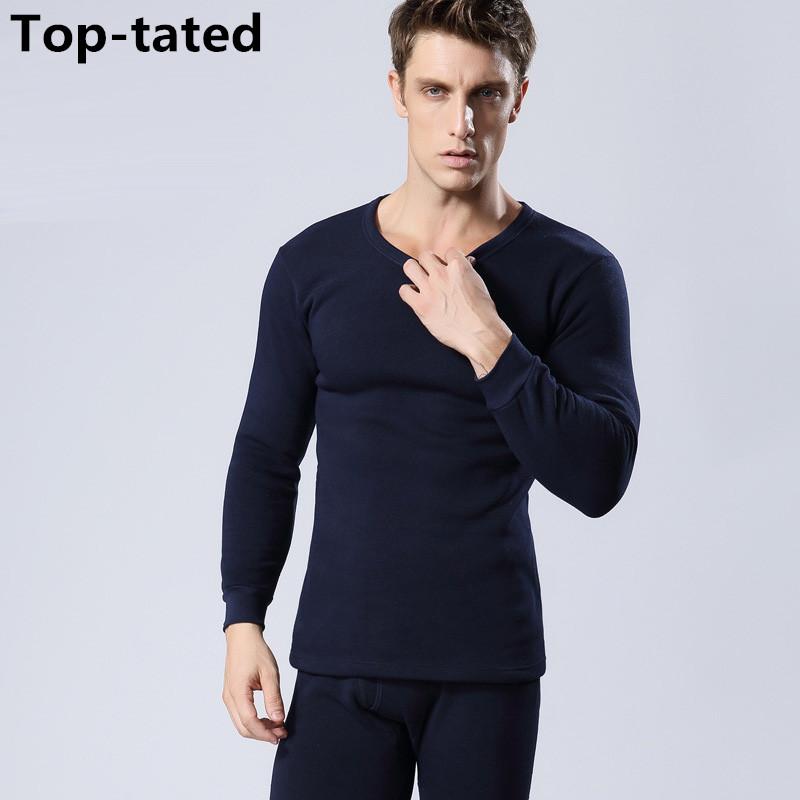 2015 Classic Solid Color Men's Round neck Thick Warm Cotton/Polyester Underwear suit Long Johns Size M/L/XL/XXL/XXXL/4XL(China (Mainland))