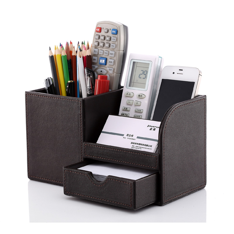 Wooden leather multi-functional desk stationery organizer storage box pen pencil box holder case brown 1309(China (Mainland))