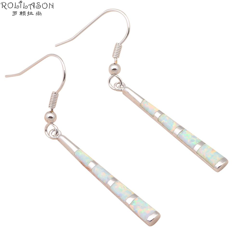 & Retail White Fire Opal Silver Stamped Drop long Earrings women Fashion Jewelry OE284 - TaoLiHao Ltd. store