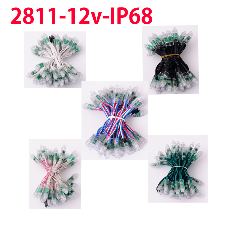 100 pcs 12mm WS2811 2811 IC DC12v Black/Green/White/Crystal/RGB Wire RGB Digital Led pixel Modules IP68 waterproof,Addressable(China (Mainland))