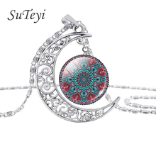 Buy SUTEYI mandala flower necklaces moon pendant henna charm style jewelry india yoga om symbol zen buddhism necklace for $1.14 in AliExpress store