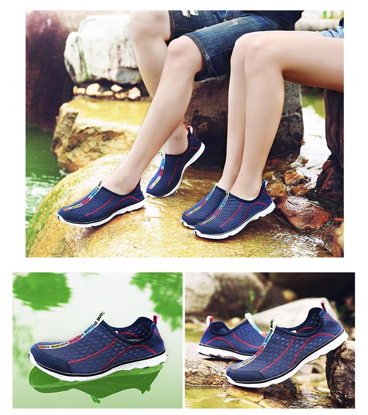 826252cde9977 ... 2017 6Colors Mens Shoes Breathable Mesh Women Aqua Shoes Walking Super  Light Summer Women Slip On ...