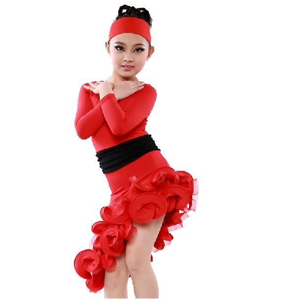 Child Latin Salsa Rumba Dance Skirt Girl's Dancing Dress Clothes Long ...