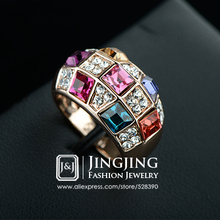Checkered Designs 18K Rose Gold Plated Cocktail Elements Luxury Multi-Color Crystals Finger Ring Gifts for Women(China (Mainland))