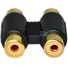 High Quality Brand New Gold Plated 2 Fmale 2 Female RCA Cable Joiner Coupler Adapter