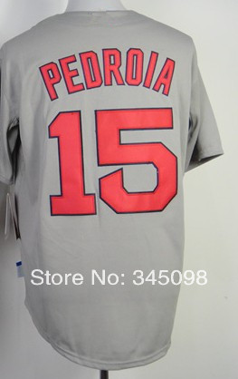 Free Shipping,Cheap Sale,#15 Dustin Pedroia Men's Gray 2014 new Baseball jersey,Embroidery /Sewing Logos,wholesale(China (Mainland))