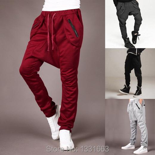 2015 Harem Pants Men Hip Hop Saruel Swag Harlem Sarouel Fashion Moleton Calca Pantalon Low Drop Crotch Pants(China (Mainland))