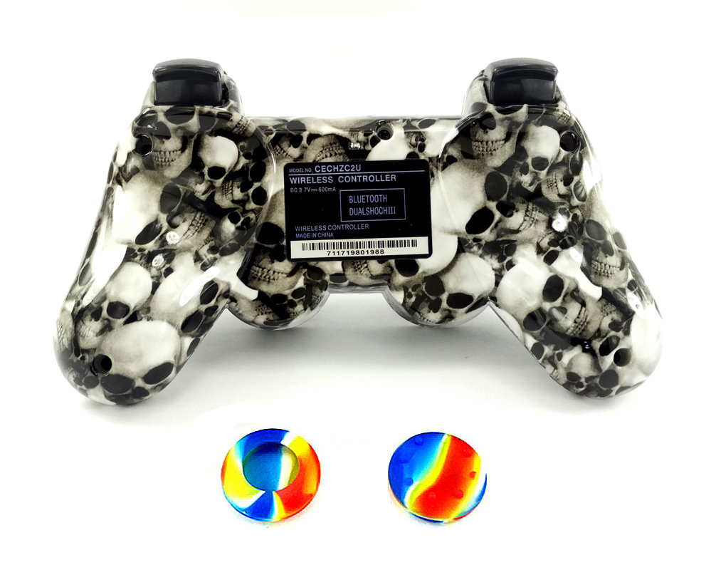 Exclusive Skull Design Appearance Wireless Bluetooth Joystick Gamepad For Playstation 3 PS3 Controller + 2PCS Free Rocker cap(China (Mainland))