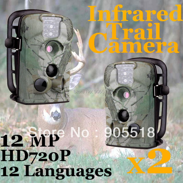 12MP Hunting Game Wildlife Camera With 12 Operating Languages  2pcs/lot +Free 2GB SD Card  Ltl-5210A