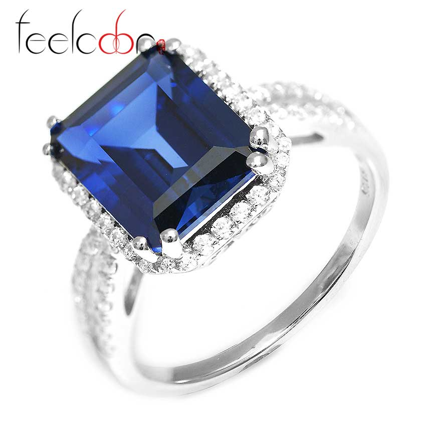 Luxury 6.1ct Sapphire Ring Solid 925 Sterling Silver Square Cut Classic Charm Engagement Wedding Jewelry Women - Jewelrypalace Gemstones store