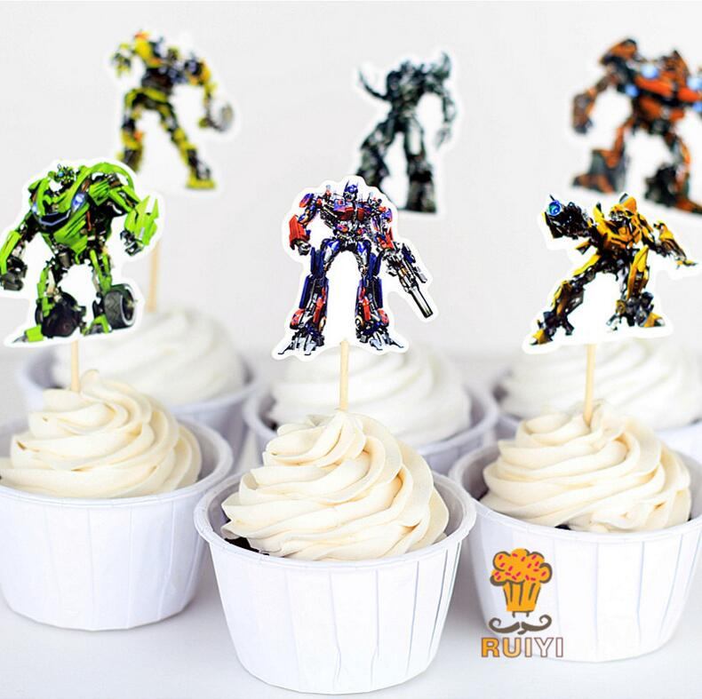 24Pcs/lot Transformers Party cupcake toppers picks Birthday Party Decoration Kids Supplies(China (Mainland))