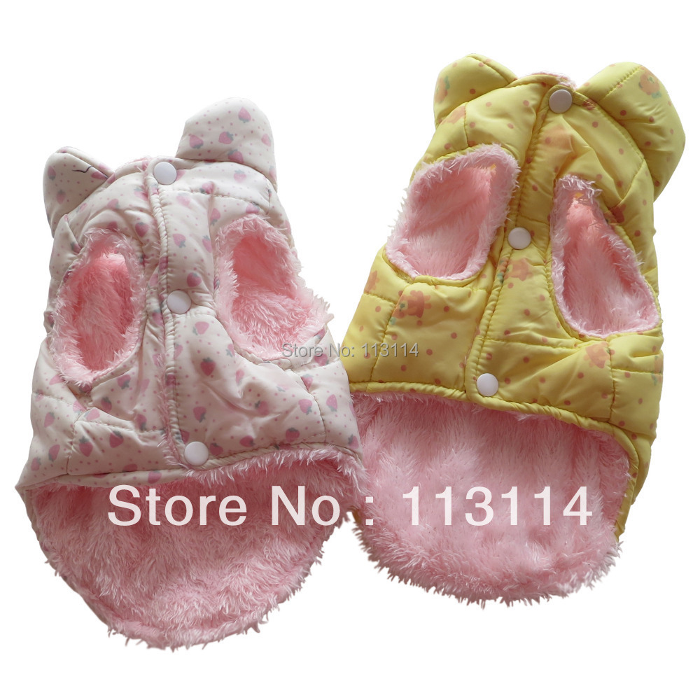 Pink Strawberry/ Yellow Bear Dog Coat Jacket Vest Quilted Snowsuits Fuzzy Pet Apparel Dog Clothes XS S M L XL free shipping(China (Mainland))