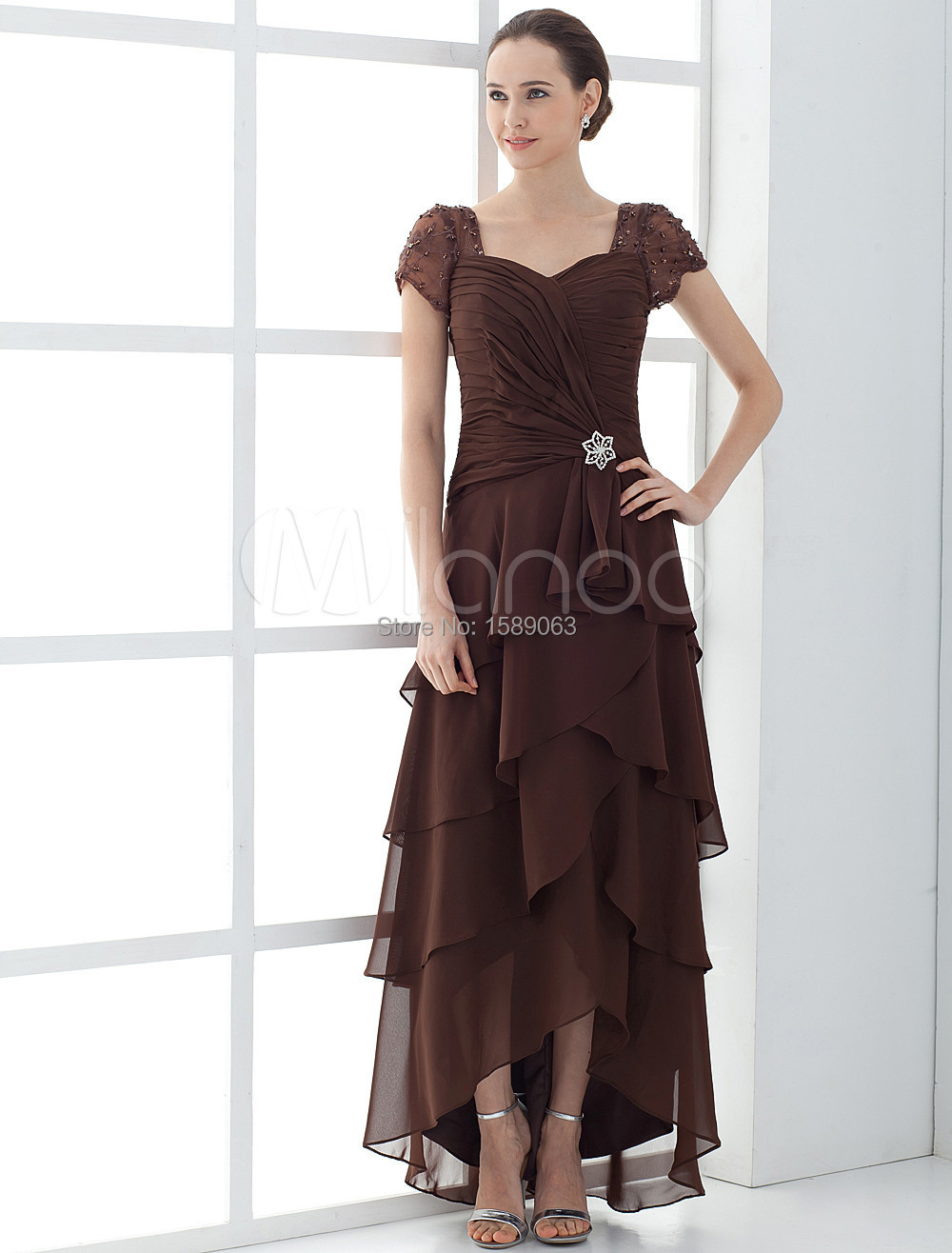 2015 tiered mother of the bride dress with short sleeves for Western wedding mother of the bride dresses