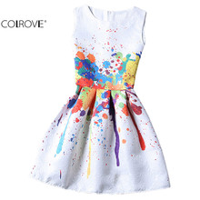 2016 New Arrival Women Colourful Round Neck Sleeveless Graffiti Print Jacquard Dresses Ladies Cute A Line Short Dress(China (Mainland))