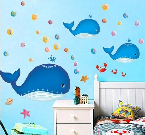Big blue whale fish ocean wall stickers decals baby sea for Baby shower wall mural