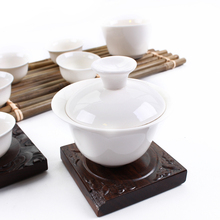 Purely White Porcelain Tea Set Ceramic Gaiwan and Tea Cup Set
