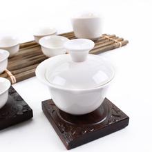 Purely White Porcelain Tea Set Ceramic Gaiwan and Tea Cup Set