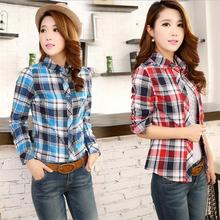 Hotsale!summer Fashion 2015 long sleeve shirt women blouse Europe stripe plaid vintage tops for women clothing ladies blouses(China (Mainland))