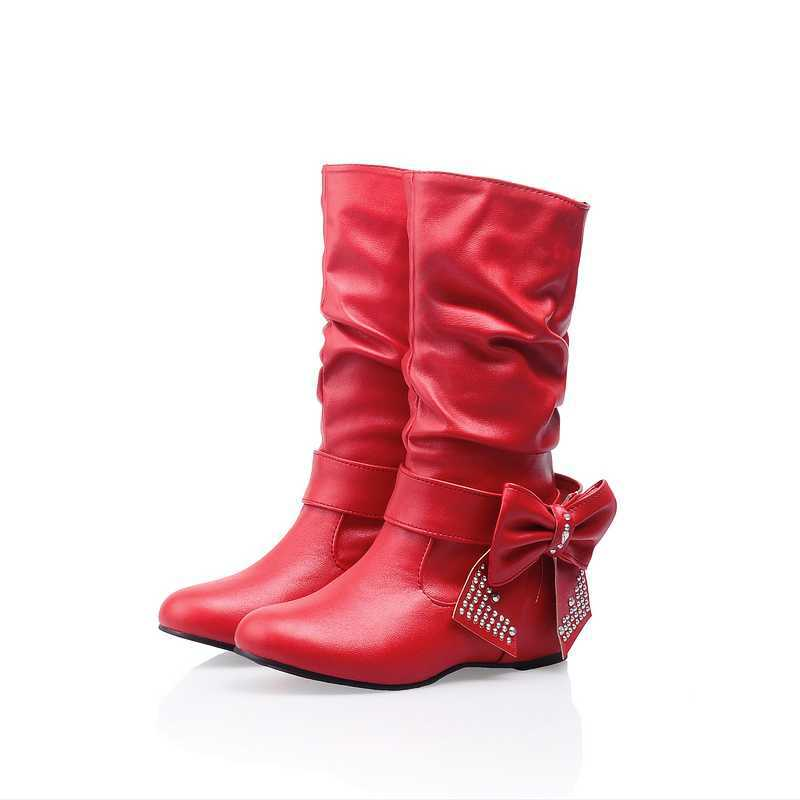 Casual Low Height Increasing Heels Ladies Ridding Shoes Plus Size 34-43 Fashion Solid Half Knee High Boots For Woman With Bowtie<br><br>Aliexpress