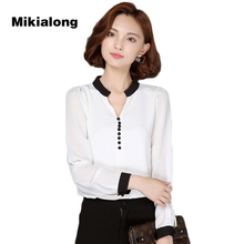 Buy Mikialong 2017 Fashion Black Patchwork Long Sleeve Summer Chiffon Blouse V-neck Casual Female Shirt OL Style Ladies Office Shirt for $10.92 in AliExpress store