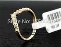 new fashion jewelry, 18K gold plated sophisticated heart ring for women ladie wholesale crystal shop free shipping