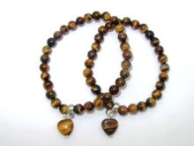 Free Shipping, 10 pcs/lot, Natural Stone Bracelet, 6 mm Tiger Eye Stone with Small Heart Charm, Nice Quality!(China (Mainland))