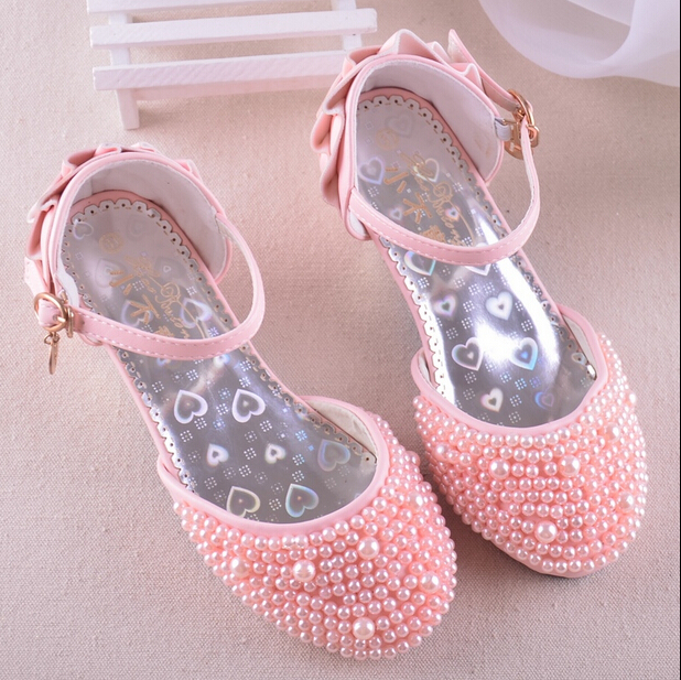 2015 new Shiny Pearls kids Wedding Party girls shoe Summer Sandals girls Princess Shoes children's high heels free shipping #357(China (Mainland))