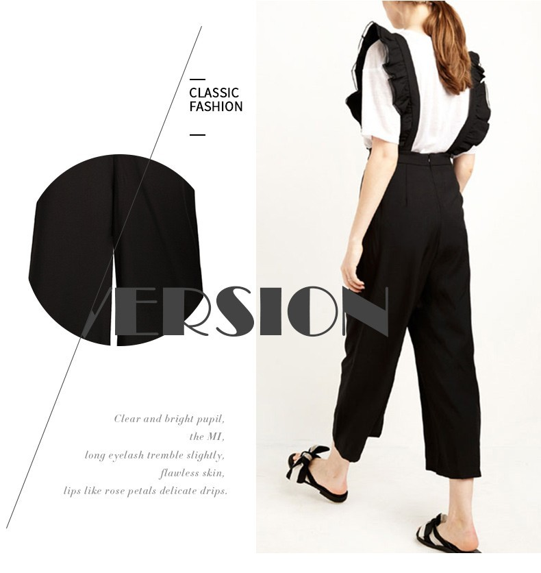 IRISIE Autumn Women New Fashion Solid Black Ruffle Patchwork Casual Jumpsuit Sleeveless Wide Leg Rompers Overalls