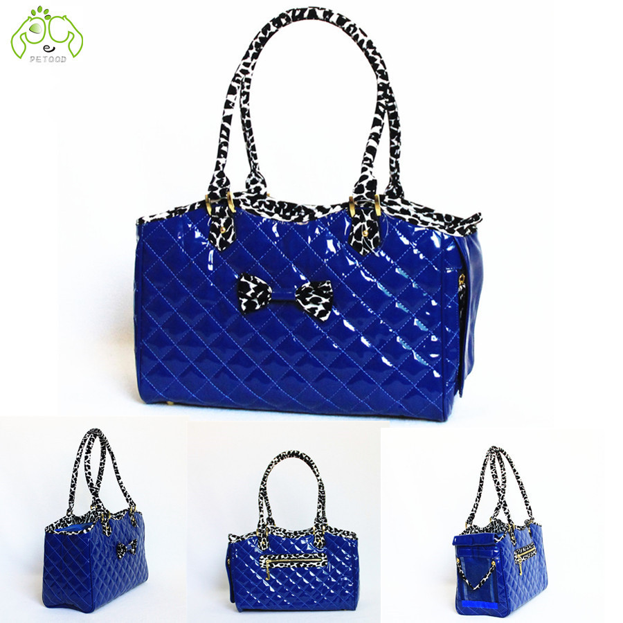 2015 Fashion blue beauty Pet Carriers Airline Travel dog bags patent leather with dimensional stitching slings tote cat bags(China (Mainland))