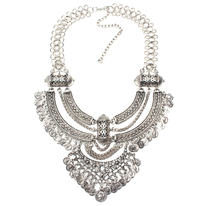 2016 fashion Boho necklace Crystal Inlaid Carving Jewelry Vintage Necklaces metal chain choker coin pendant statement Necklaces(China (Mainland))