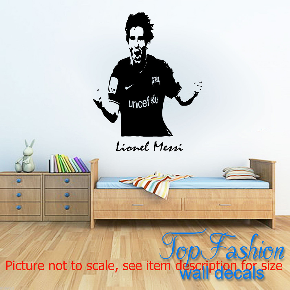 Personalised Lionel Messi Barcelona Football Sport Wall Art Sticker custom any name Decal Wall Mural Vinyl 2 sizes(China (Mainland))