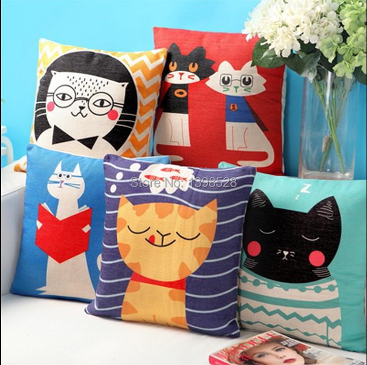 new Car Cushion Cover cute Cat pillow Cover Creative seat cushion almofada Nordic Chair Pillow(China (Mainland))