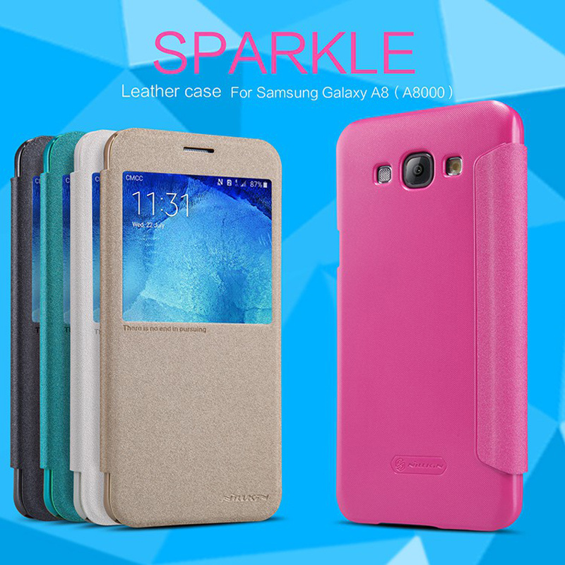 For galaxy a8 NILLKIN Sparkle super thin flip cover leather case for samsung galaxy a8 mobile phone bags with Retailed Package(China (Mainland))