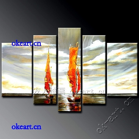 Handmade abstract oil painting sailboat sea European style living room home decor art 5pcs/set ocean waves oil painting(China (Mainland))