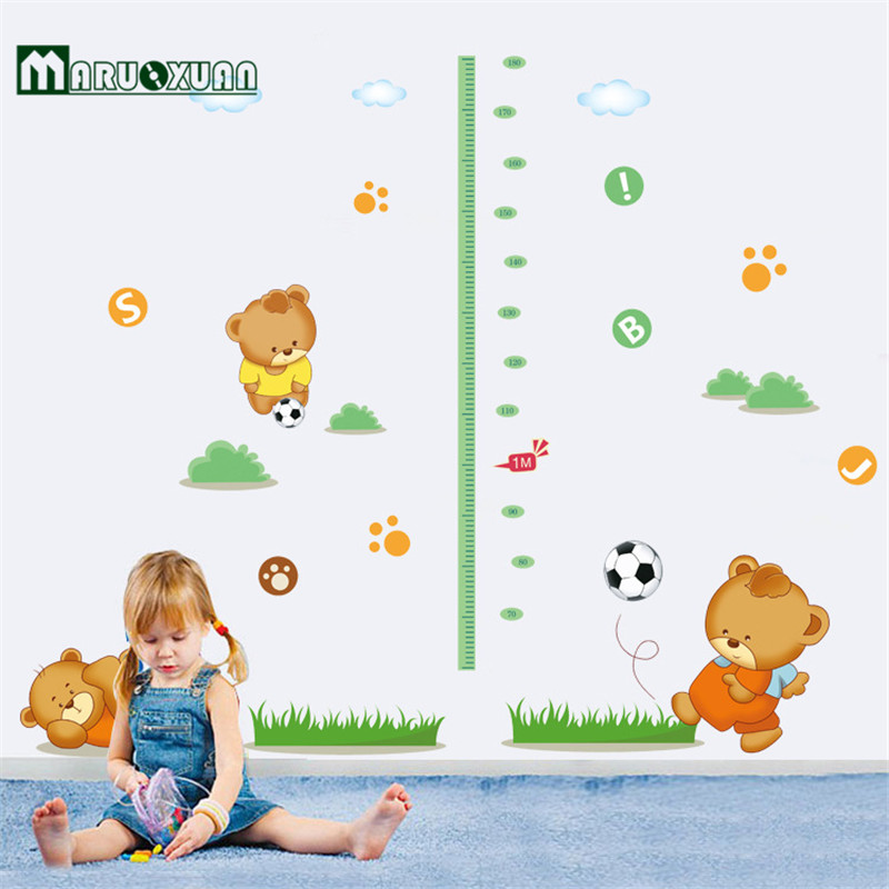 Measuring Height And Stickers Children Cartoon Bear Wall Stickers Self-Adhesive Football Nursery Baby Room Factory Outlets(China (Mainland))