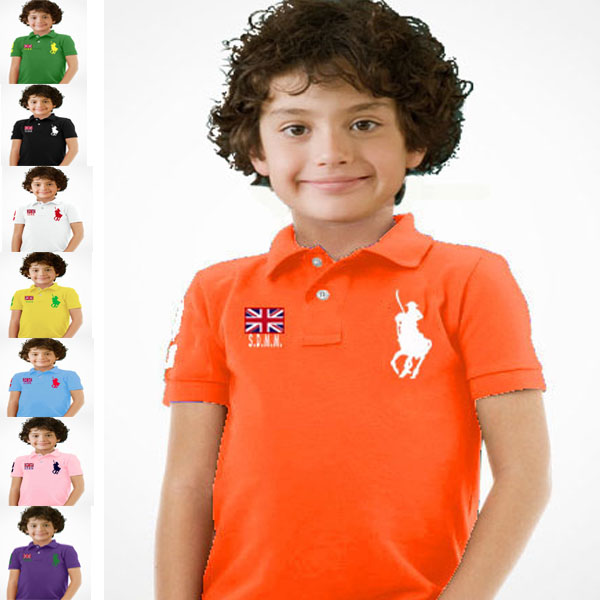 Male female child 100% cotton short-sleeve T-shirt candy color summer preppy style pol o(China (Mainland))