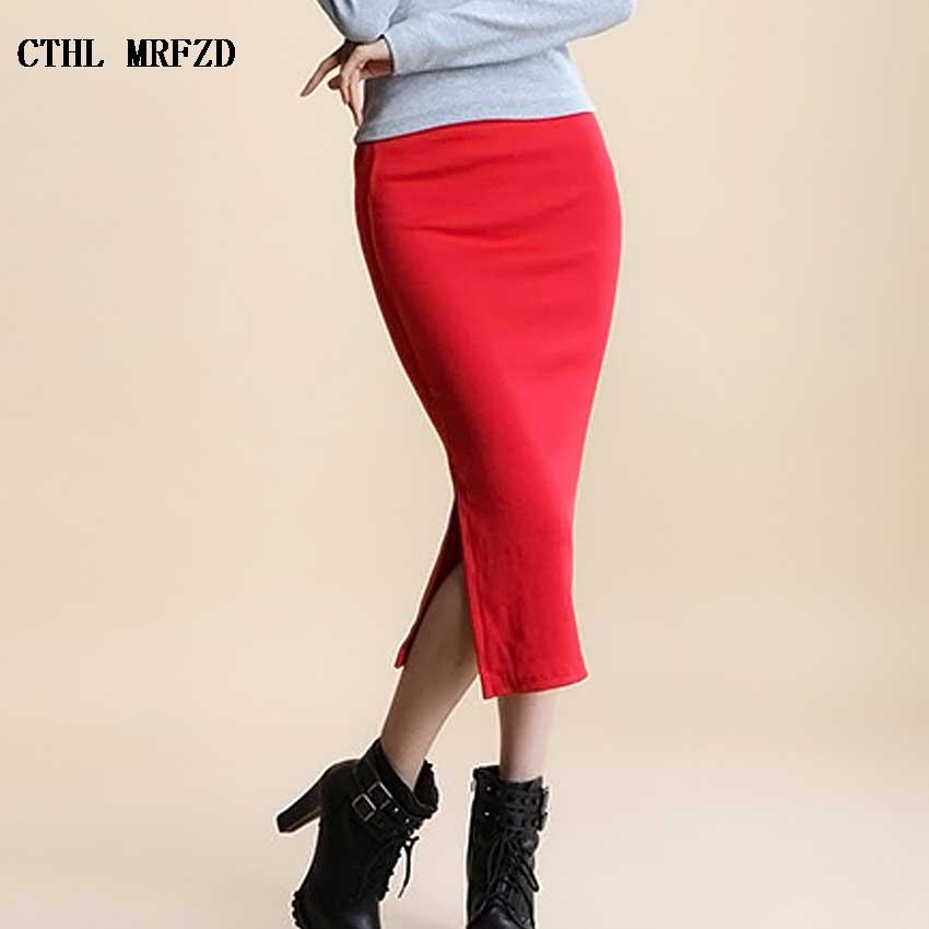 2017 Summer skirts Sexy Chic Pencil Skirts Women Skirt Wool Rib Knit Long Skirt Package Hip Split Waist midi skirt maxi