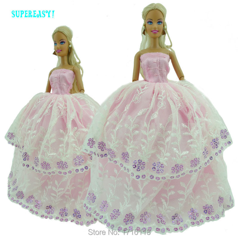 Handmade Strapless Wedding ceremony Celebration Gown Princess Robe With Sequin Lace Garments For Barbie Doll FR Kurhn 11 12 inch Toys Child Reward