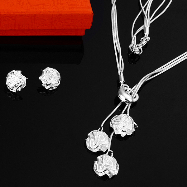 WS259 Factory price, Free shipping, Wholesale jewelry 925 Sterling Silver pendant Necklace & Earrings Set(China (Mainland))