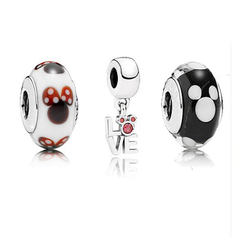 Glass Beads Fits Pandora Bracelet Disny Micky Silver Charm With Black And White Murano Glass Beads Original 925 Sterling Silver<br><br>Aliexpress